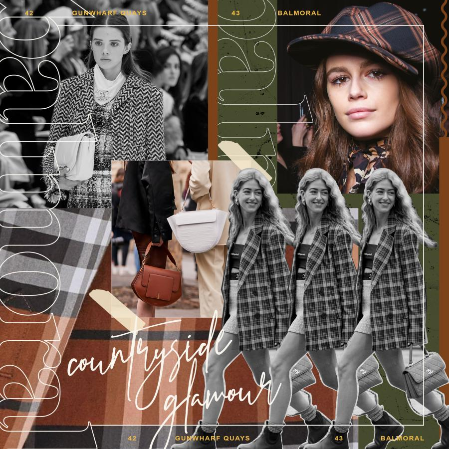 fashion collage of trend for tweed, check and plaid