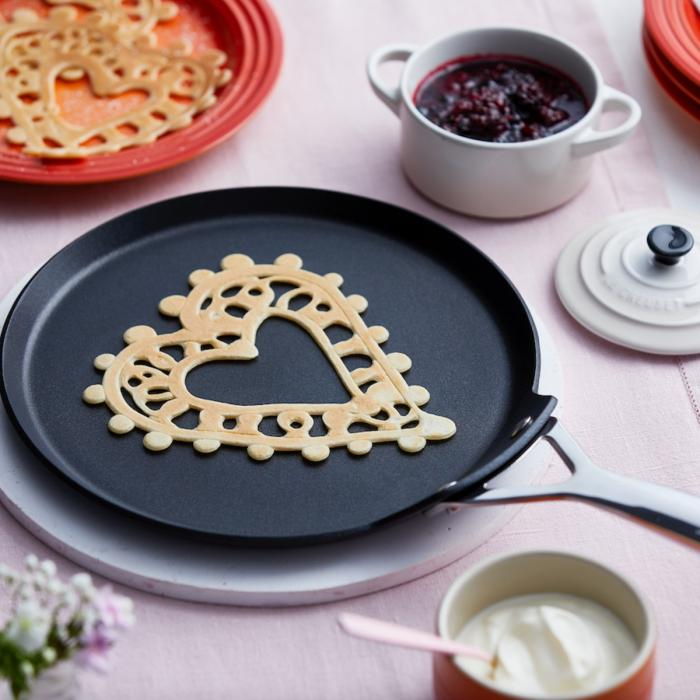Lace Pancakes with Berry Compote and Creme Fraiche