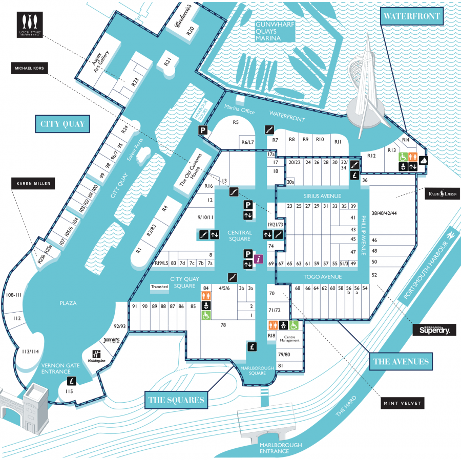 West Quay Floor Plan Centre Map Gunwharf Quays Outlet