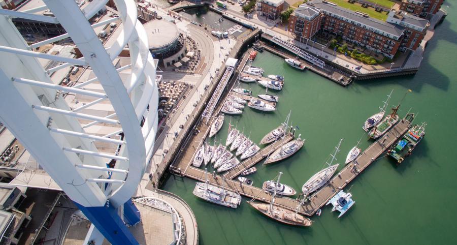 Gunwharf Quays Marina from the air