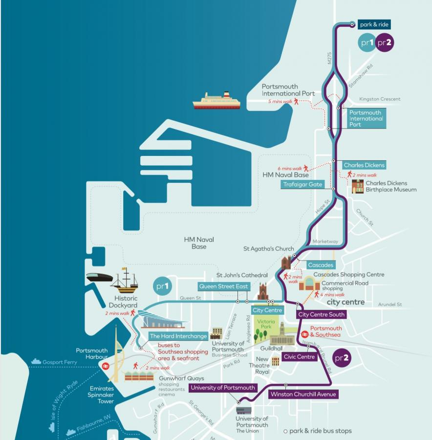 Park and Ride Portsmouth Route Map